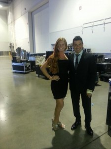 Lauren back stage assisting Sam Saboura from TLC's Television show Something Borrowed, Something New